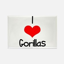 I Love (heart) Gorillas Rectangle Magnet