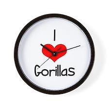 I Love (heart) Gorillas Wall Clock