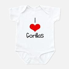 I Love (heart) Gorillas Infant Bodysuit
