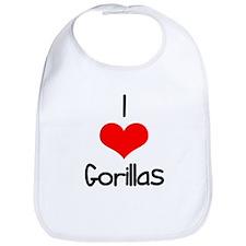 I Love (heart) Gorillas Bib