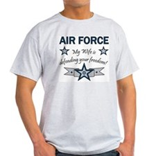 Air Force Wife defending Ash Grey T-Shirt