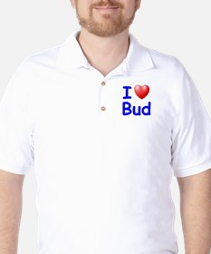 I Love Bud (Blue) Golf Shirt