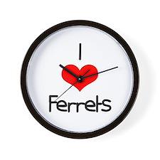 I Love (heart) Ferrets Wall Clock