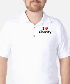 I Love Charity (Black) Golf Shirt