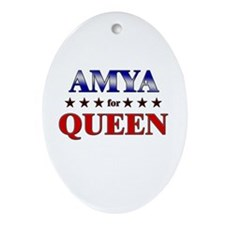 AMYA for queen Oval Ornament