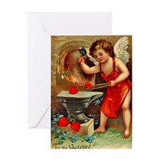 Cupid Valentine Blacksmith Greeting Card Blank In