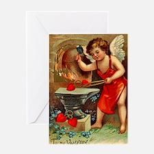 Cupid Valentine Blacksmith Greeting Card Blank In