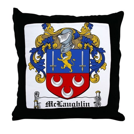 McLaughlin Family Crest Throw Pillow