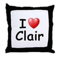 I Love Clair (Black) Throw Pillow