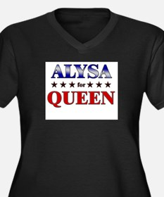 ALYSA for queen Women's Plus Size V-Neck Dark T-Sh