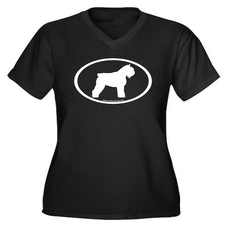 Bouvier Oval Women's Plus Size V-Neck Dark T-Shirt