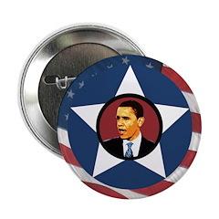 Barack Obama Flag Star Campaign Button