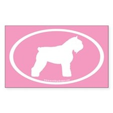Bouvier Oval (white on pink) Rectangle Decal