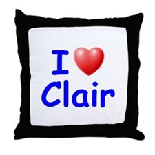 I Love Clair (Blue) Throw Pillow