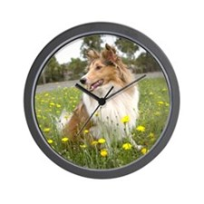 Sheltie & Flowers Wall Clock