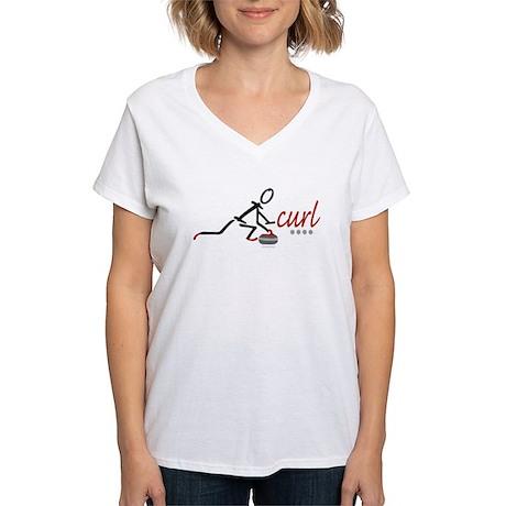 Love Curling Women's V-Neck T-Shirt
