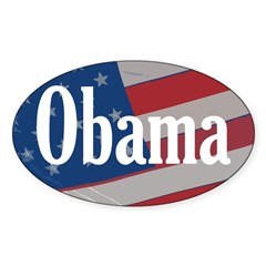 Obama American Flag Oval Bumper Decal