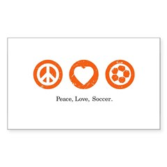 Peace Love Soccer Rectangle Decal