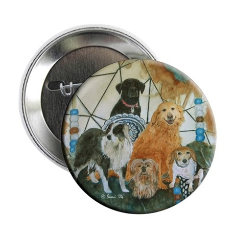 "Dreamcatcher with 5 dogs 2.25"" Button (100 pack)"