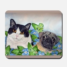 Emmet the Pug and Oreo the Cat Mousepad