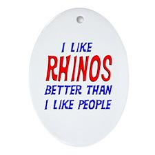 I Like Rhinos Oval Ornament