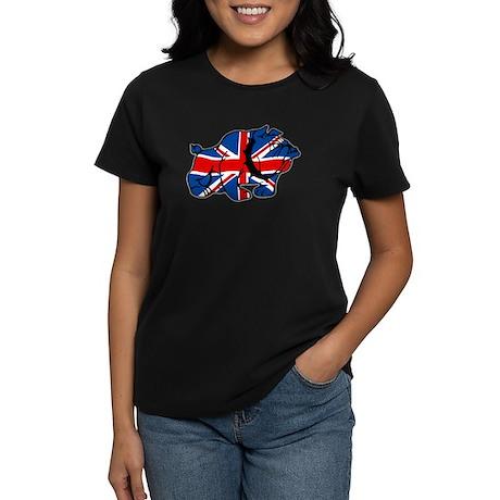 Union Jack Brit Bulldog Women's Dark T-Shirt