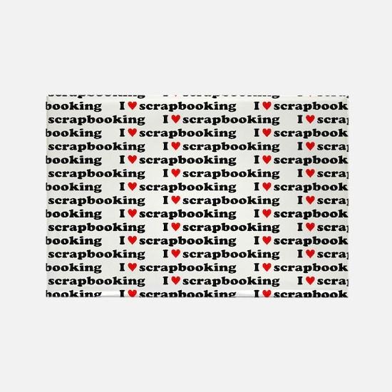 I {heart} Scrapbooking Pattern Rectangle Magnet