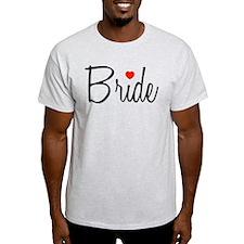 Bride (Black Script With Heart) T-Shirt