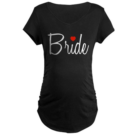 Bride (Black Script With Heart) Maternity Dark T-S