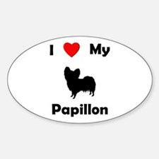 I Love My Papillon Oval Decal
