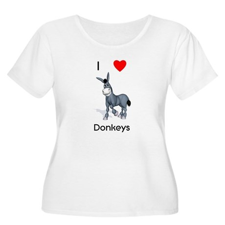 I love donkeys Women's Plus Size Scoop Neck T-Shir
