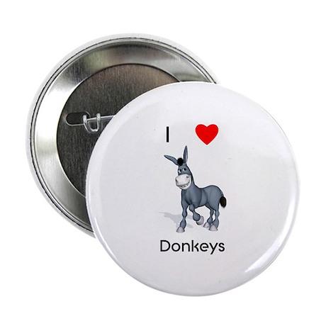 "I love donkeys 2.25"" Button (10 pack)"