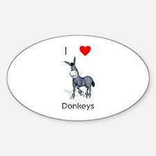 I love donkeys Oval Decal