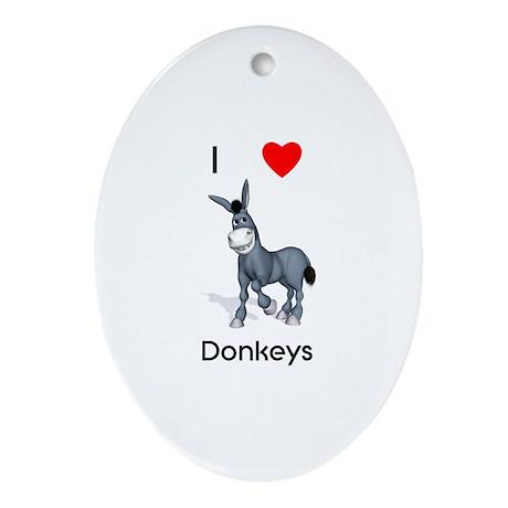 I love donkeys Oval Ornament
