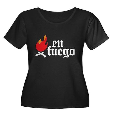 En Fuego Women's Plus Size Scoop Neck Dark T-Shirt