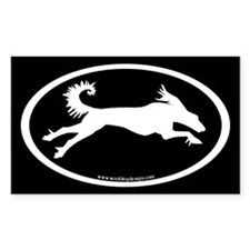 Running Saluki Oval (wh/blk) Rectangle Decal