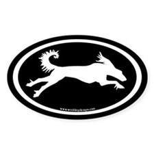 Running Saluki Oval (white on blk) Oval Decal