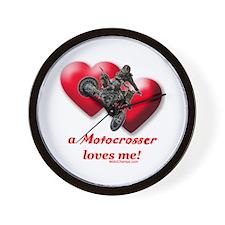 """""""A Motocrosser Loves Me"""" Wall Clock"""