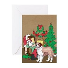 Santa Has A St Bernard Christmas Greeting Cards (P