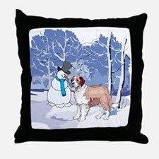 Snowman & St Bernard Holiday Throw Pillow