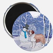 Snowman & St Bernard Holiday Magnet