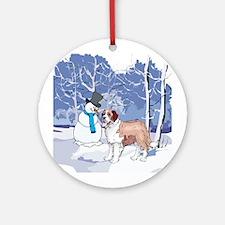Snowman & St Bernard Holiday Ornament (Round)