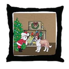 Santas Gift To The Saint Bernard Throw Pillow