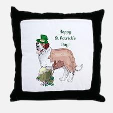 Happy St Patricks Day St Bernard Throw Pillow