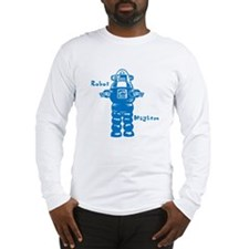 Robot Mayhem Blue Long Sleeve T-Shirt
