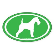 Wire Fox Terrier (white on green) Oval Decal