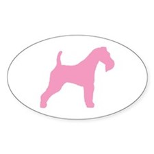 Pink Wire Fox Terrier Oval Decal