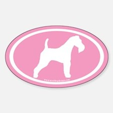 Pink Wire Fox Terrier (inner border)Oval Decal