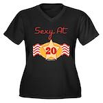 Sexy At 20 Women's Plus Size V-Neck Dark T-Shirt