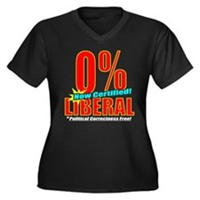 0% Liberal! Women's Plus Size V-Neck Dark T-Shirt